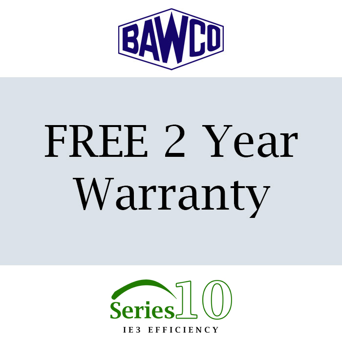Bradford Armature Winding Company offers a free one year warranty with this motor. You can extend the warranty to a total of 3 years when you buy a Mitsubishi Inverter.