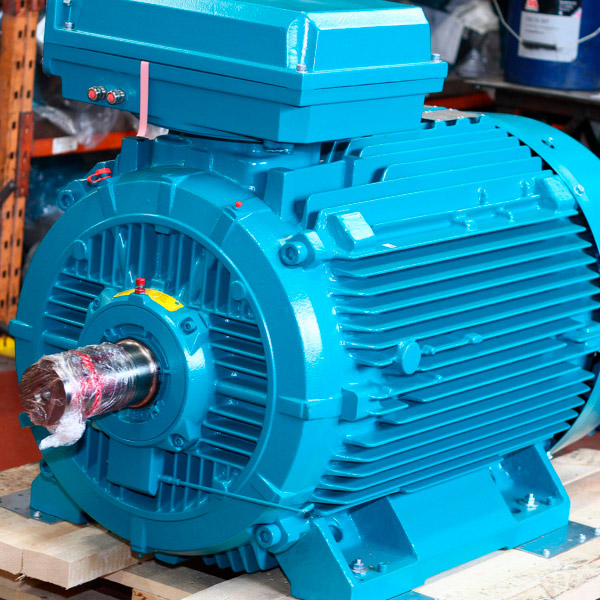 A view of our electric motor ready to be shipped to a customer of BAWCO.