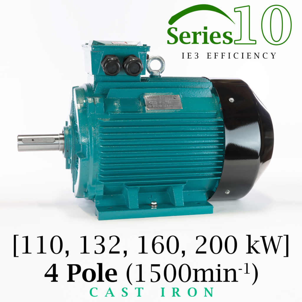 Brook Crompton Series 10 IE3 4 Pole Cast Iron Electric Motor supplied by BAWCO.