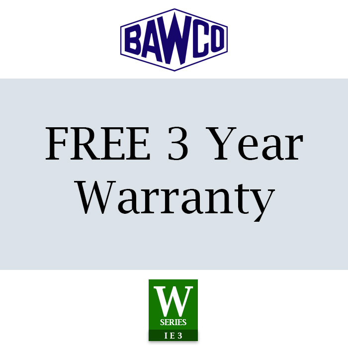 BAWCO offers a very generous 3 year warranty with our World Series IE3 Electric Motors.