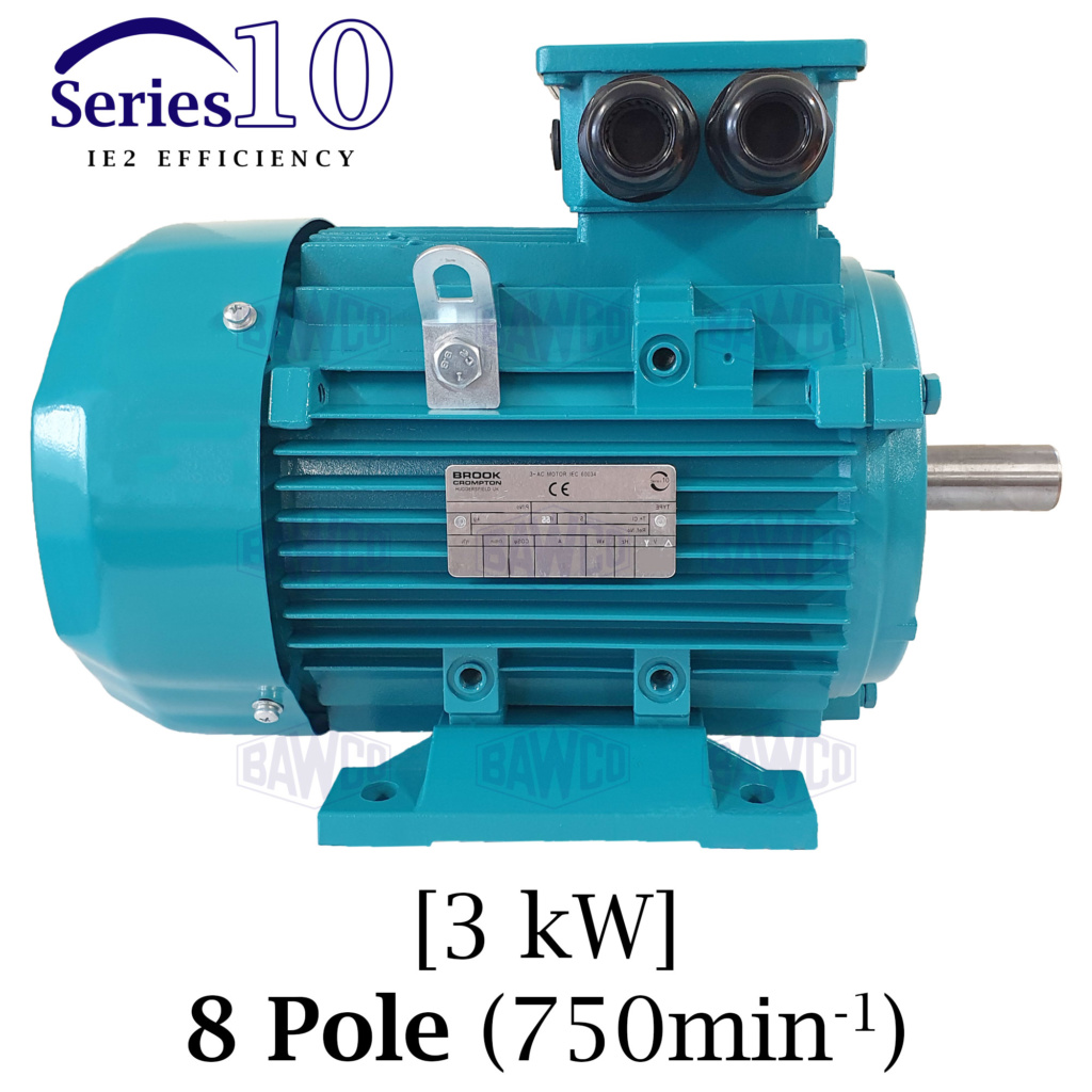 Brook Crompton Series 10 IE2 8 Pole Aluminium Electric Motor supplied by BAWCO.