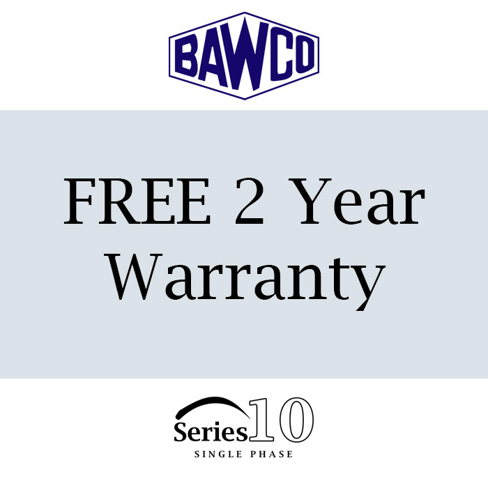 BAWCO offers a very generous 2 year warranty with our Series 10 Single Phase motors.