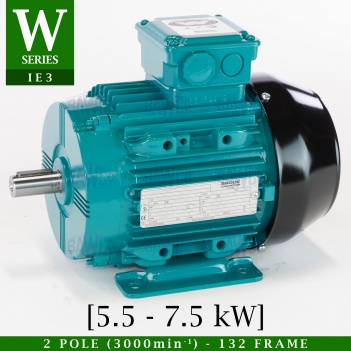 A Brook Crompton World Series Aluminium Electric Motor which can be repaired or distributed by Bradford Armature Winding Company Ltd.